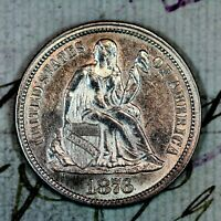 1876 CC   CHOICE UNC SILVER SEATED LIBERTY DIME   FROM ORI