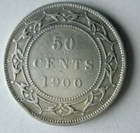 1900 NEWFOUNDLAND 50 CENTS   EXCELLENT COIN   LOW MINTAGE SI