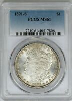 1891-S PCGS SILVER MORGAN DOLLAR MINT STATE MINT STATE 61