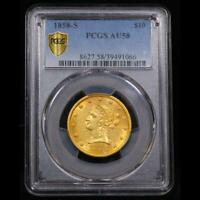VERY  1858 S PCGS AU58 $10 GOLD EAGLE TIED FOR FINEST OF ITS