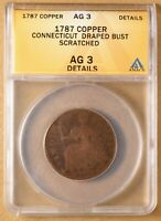 1787 CONNECTICUT DRAPED BUST EARLY AMERICAN COPPER ANACS AG