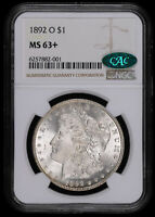 1892 O MORGAN SILVER DOLLAR COIN NGC MINT STATE 63 PLUS CAC