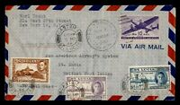 DR WHO 1946 NY FIRST FLIGHT PAA TEST TO CASTRIES ST LUCIA  G