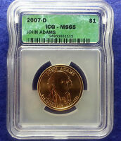 2007 D JOHN ADAMS PRESIDENTIAL DOLLAR MINT STATE 65 BY ICG POSITION A