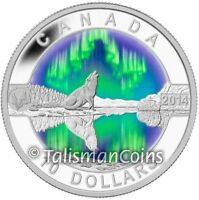 2014 OH  CANADA SERIES 9 WOLF HOWLING NORTHERN LIGHTS AURORA BOREALIS $10 SILVER
