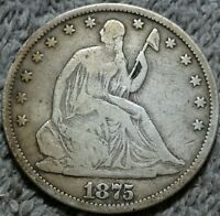1875 50C LIBERTY SEATED HALF DOLLAR F/VF FINE / FINE 3.24