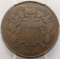 1864 2 CENT PIECE SMALL MOTTO PCGS F-12 KEY DATE