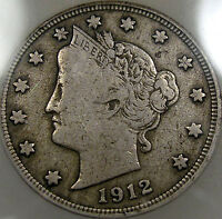 1912-S LIBERTY NICKEL CHOICE ICG F-12   AND ORIGINAL, A GREAT COIN