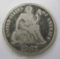1887 SILVER SEATED LIBERTY DIME COLLECTOR COIN 42N