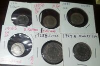 SWITZERLAND NICE MIX SIX COIN LOT 1800'S &1900'S COPPER/NICKEL