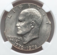 1976 D DOUBLE CURVED CLIP ERROR NGC MS63 IKE EISENHOWER DOLLAR BICENTENNIAL 1776
