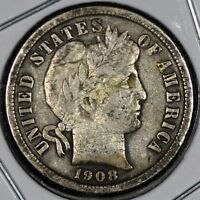 1908 SILVER BARBER DIME NICE COIN