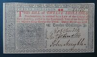 B2   BANKNOTE   TWELVE SHILLINGS COLONY OF NEW JERSSEY 1776