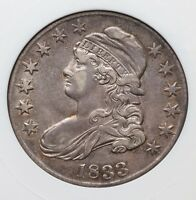 1833 CAPPED BUST ANACS AU55 SILVER HALF DOLLAR NEAT  OVERTON O 101