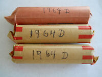 1964 D LINCOLN MEMORIAL CENT ROLL 50 PENNIES VG OR BETTER