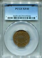 1871 TWO CENT  PCGS EXTRA FINE -40