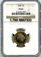 C6823- 1898 PROOF LIBERTY 'V' NICKEL NGC PF65 TARGET TONED - 1,795 MINTED