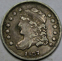 1837/7 LG. 5C CAPPED BUST HALF DIME EF A SUPER CHOICE COIN NEAT VARIETY