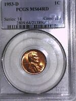 1953 D LINCOLN WHEAT CENT PCGS MINT STATE 64 RD 21389085