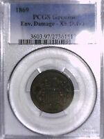 1869 TWO CENT PCGS GENUINE ENV. DAMAGE - EXTRA FINE  DETAILS 27361512