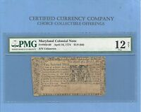 1774 1/9TH DOLLAR MARYLAND COLONIAL NOTE HISTORY MD 60 PMG FINE  12
