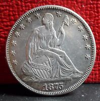 BEAUTIFUL AND AMAZING 1875 SEATED LIBERTY SILVER HALF DOLLAR