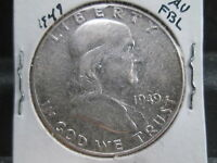 1949 P 90 SILVER FRANKLIN 50C IN AU WITH FBL