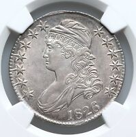 1826 NGC AU55 CAPPED BUST SILVER HALF DOLLAR OVERTON NICE TYPE COIN