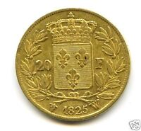CHARLES X 1824 1830 20 FRANCS OR GOLD 1825 W LILLE