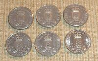 NETHERLANDS ANTILLES LOT OF SIX 25 CENT COINS DATED 1970 1979
