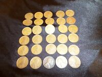 LOT OF 30 WHEAT CENT LINCOLN CENTS FROM 1920'S, 1930'S & 1940 YEARS
