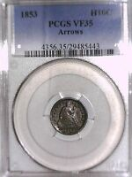 1853 SEATED LIBERTY HALF DIME PCGS VF 35 ARROWS 29485443
