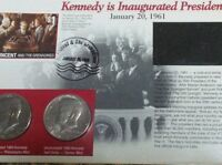 1980 JOHN KENNEDY HALVES INAUGURATED PANEL JANUARY 20 1961 ST. VINCENT STAMP
