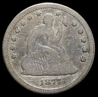 1877 SILVER QUARTER DOLLAR 25C SEATED LIBERTY KEY DATE BETTER GRADE BEAUTIFUL