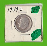 1949 S ROOSEVELT DIME KEY DATE VF 90 SILVER