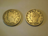 CIRCULATED 1883 WITHOUT CENTS & 1912 D LIBERTY HEAD NICKELS UNCERTIFIED UNGRADED
