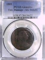 1801 LARGE CENT PCGS GENUINE ENV. DAMAGE   AG DETAILS 28438622