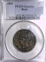 1841 LARGE CENT PCGS GENUINE BENT 24993675