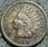 1908 S INDIAN CENT F / VF FINE / FINE FULL LIBERTY STRIPED TONING 4.23
