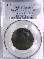 1787 CENT PCGS GENUINE GRAFFITI   VG MAILED BUST LEFT CONNECTICUT CENT 24960498