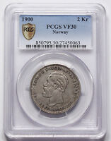 NORWAY 1900 2 KRONER SILVER COIN NGC VF30 VF KM 359 OSCAR II