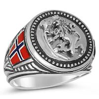 NORSE LION  MENS COIN RING   STERLING SILVER .925