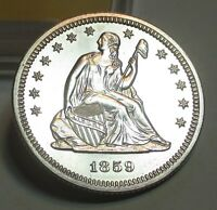 1859 PROOF SEATED LIBERTY QUARTER DOLLAR 25C GEM PROOF US COIN