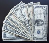 MIX LOT OF 16 X $1 & $2 & $5 SERIES 1935   1963 SILVER CERTIFICATES & US NOTES