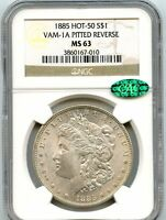 C5914- 1885 VAM-1A PITTED REVERSE HOT 50 MORGAN DOLLAR NGC MINT STATE 63 CAC