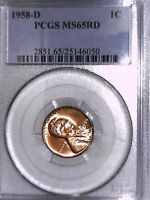 1958 D LINCOLN WHEAT CENT PCGS MS 65 RD 25146050