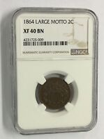 1864 2C TWO CENTS SHIELD CENTS LARGE MOTTO NGC EXTRA FINE  40 BN