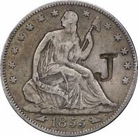 1855 SEATED W/ ARROWS HALF DOLLAR CHOICE XF DETAILS W/ LARGE J COUNTERSTAMP