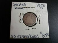 1838 0 SEATED LIBERTY DIME TYPE 1   NO STARS U.S. COIN