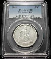 1840 REVERSE OF 1839 PCGS XF40 SEATED LIBERTY HALF > NEARLY WHITE / CLEAN <